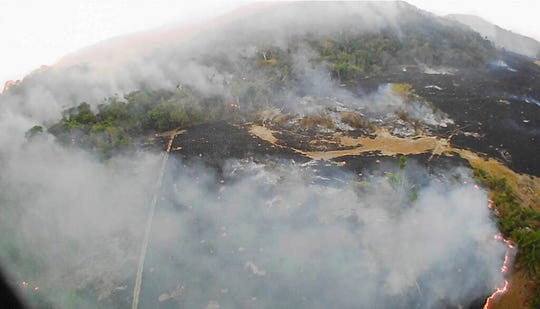 In this Aug. 20, 2019 drone photo brush fires burn in Guaranta do Norte municipality, Mato Grosso state, Brazil. Brazil's National Institute for Space Research, a federal agency monitoring deforestation and wildfires, said the country has seen a record number of wildfires this year.