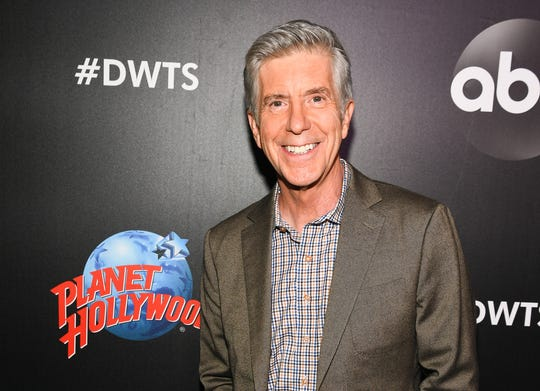 "Host Tom Bergeron arrives at the 2019 ""Dancing With The Stars"" Cast Reveal at Planet Hollywood Times Square on August 21, 2019 in New York City. (Dave Kotinsky/Getty Images for Planet Hollywood International/TNS)"