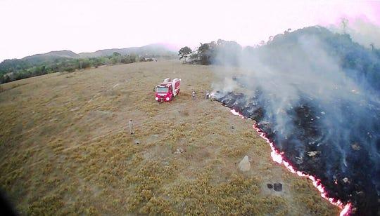 In this Aug. 20, 2019 drone photo brush fires burn in Guaranta do Norte municipality, Mato Grosso state, Brazil.