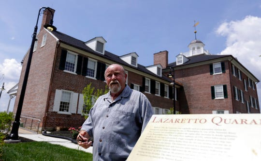 Tinicum's building official Herbert MacCombie speaks near the refurbished Lazaretto Quarantine Station Wednesday July 10, 2019, in Essington, Pa. Built in 1799, the quarantine station protected the Port of Philadelphia against the introduction of epidemic disease for nearly a century.