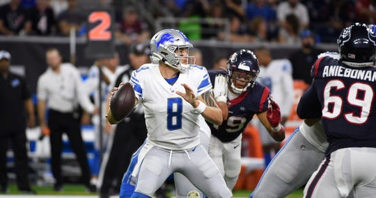 Lions quarterback David Fales (8) completed 12 of 19 passes for 226 yards and a touchdown last week against the Texans.