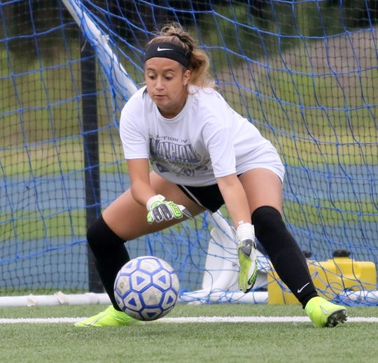 Elmira Notre Dame girls soccer goalie Ana Milazzo practices Aug. 22, 2019 at Brewer Memorial Stadium.