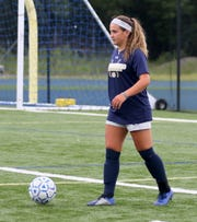Ellie Mustico of the Elmira Notre Dame girls soccer team practices Aug. 22, 2019 at Brewer Memorial Stadium.