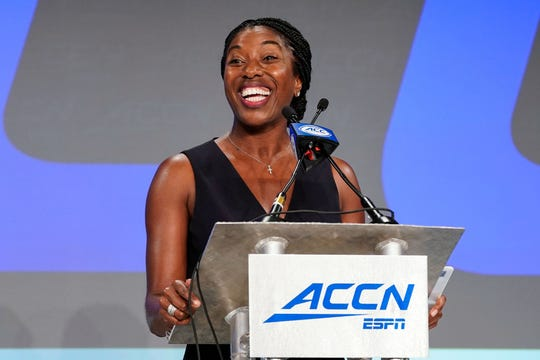 Jul 17, 2019; Charlotte, NC, USA; ACC ESPN Rosalind Durant addresses the media concerning the ACC network during the 2019 ACC Kickoff at the Westin Hotel in Charlotte, NC. Mandatory Credit: Jim Dedmon-USA TODAY Sports