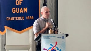 Archbishop Michael Jude Byrnes shares his perspectives on clergy sex abuse cases as a guest speaker for the Rotary Club of Guam's luncheon meeting on Aug. 22, 2019.