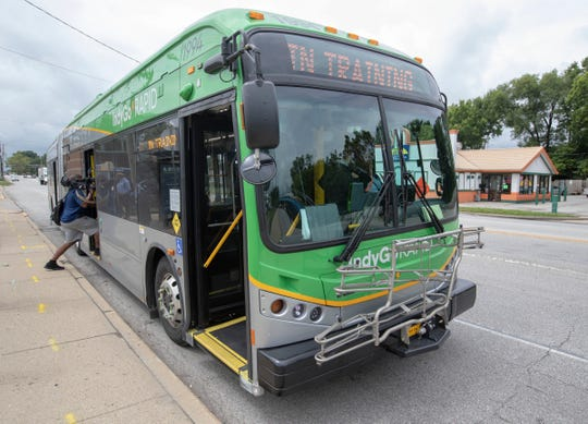 A media preview ride of the new Red Line, a bus rapid transit system that will connect Broad Ripple to the University of Indianapolis via downtown and Fountain Square, Thursday, Aug. 22, 2019.