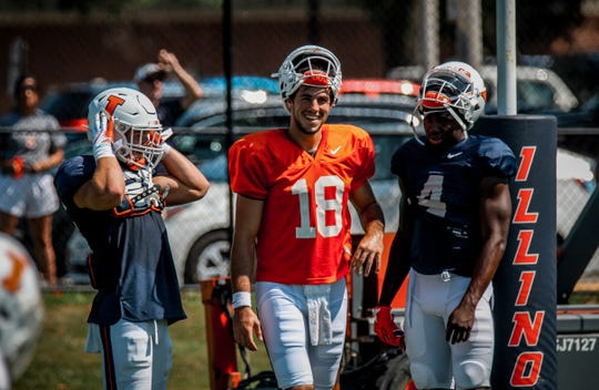Former Avon and Michigan QB Brandon Peters (18) was named the starter at Illinois this week.