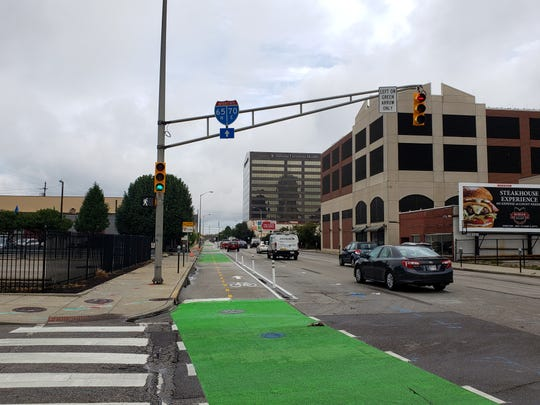 On Illinois Street there's a new bike lane with traffic signals just for cyclists, which are to the left of the regular signal for motorists. It's caused some confusion for drivers who turn on the wrong signal.