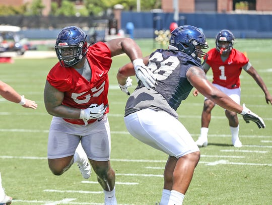 Ole Miss defensive tackle K.D. Hill practices during fall camp 2019 on August 2nd, 2019 in Oxford, MS.  Photo by Joshua McCoy/Ole Miss Athletics Twitter and Instagram: @OleMissPix  Buy photos at RebelWallArt.com