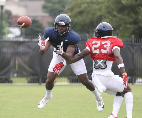 Ole Miss wide receiver Jonathan Mingo prepares to catch a pass during a fall camp practice in August 2019.  Photos by Joshua McCoy/Ole Miss Athletics