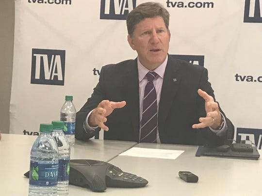 Jeff Lyash, president and CEO of TVA, speaks after the regular board meeting Aug. 22, 2019.