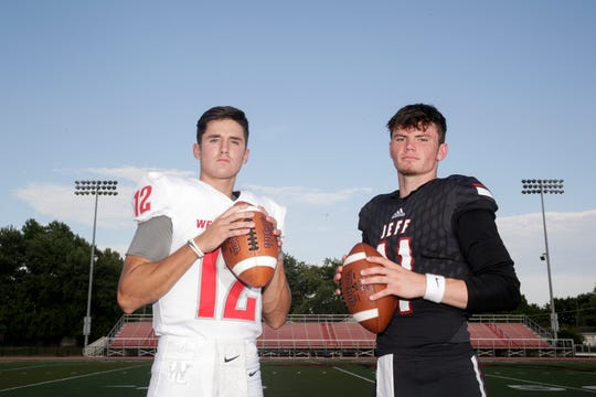 Lafayette Jeff quarterback Maximus Grimes and West Lafayette quarterback Kyle Adams pose for a photo before they face-off on Friday at the 2019 season opener, Wednesday, Aug. 21, 2019 at Scheumann Stadium in Lafayette.