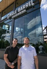 In front of their soon-to-open eatery Thursday, Aug. 22, 2019, Single Barrel Social owner Chris Klebba, left, and Director of Operations Tyler Herron are looking forward to opening the restaurant, bar and entertainment venue in Brighton.