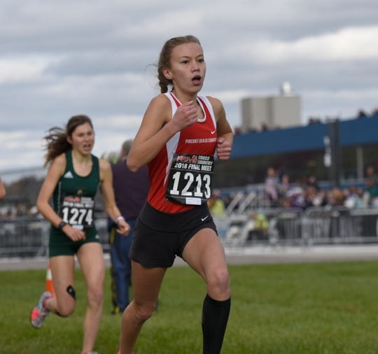 Pinckney's Vivi Eddings (1213) was county Runner of the Year as a freshman and all-state as a sophoimore.