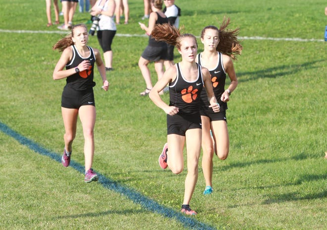 Brighton returns (from left) Morgan Crompton, Morgan Waggoner and Emily House from a team that qualified for the state cross country meet.