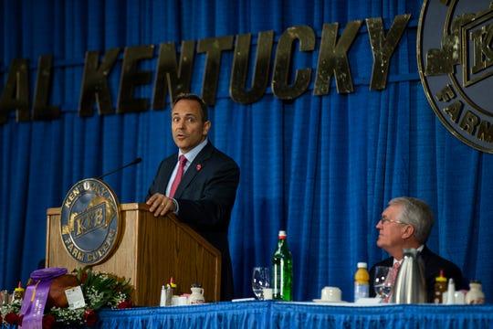 Gov. Matt Bevin speaks at the 56th Annual Kentucky Country Ham Breakfast. Aug. 22, 2019