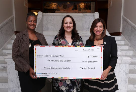 Metro United Way Project Manager Keni Brown, left, and president/CEO Theresa Reno-Weber, right, received a donation from Liz Morgan, project manager for the Courier Journal.