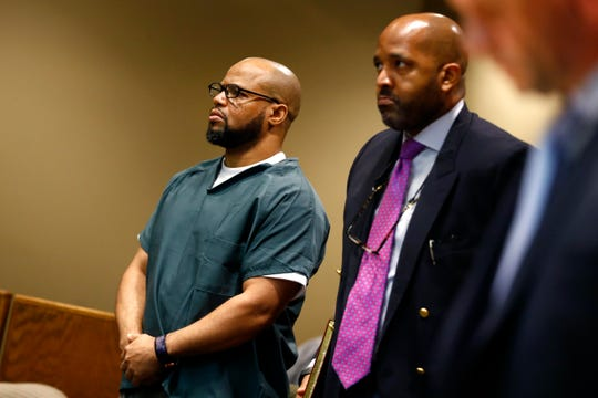 Defendant Billy Ray Turner and his attorney John Keith Perry make an appearance in Judge Lee Coffee's courtroom Thursday, Aug. 22, 2019. Turner is charged with killing NBA star Lorenzen Wright.