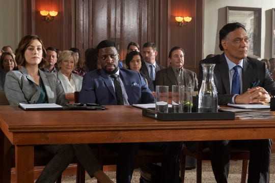 "Courtroom sequences will occur throughout ""Bluff City Law,"" with an ensemble cast that features (from left) Caitlin McGee as Sydney Strait, Michael Luwoye as Anthony Little, and Jimmy Smits as Elijah Strait."