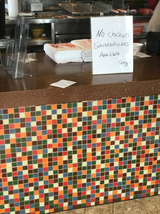 A sign warned customers at the Popeyes at 1539 W. National Ave. that no chicken sandwiches were available. Diners have been snapping up the new menu item in Milwaukee and across the country.