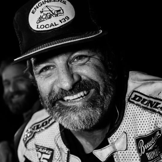 Joey Haupt was enthusiastic about many things, especially motorcycles and racing. His friend Andy Pickett is visible in the background.