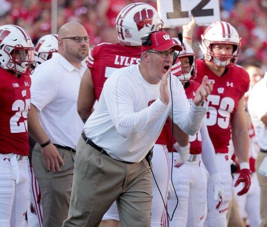 Wisconsin Badgers head coach Paul Chryst tries to motivate his team during the 3rd quarter of the Wisconsin Badgers 24-21 loss against BYU Cougars Saturday, September 15, 2018 at Camp Randall Stadium in Madison, Wis. -  Photo by Mike De Sisti / Milwaukee Journal Sentinel