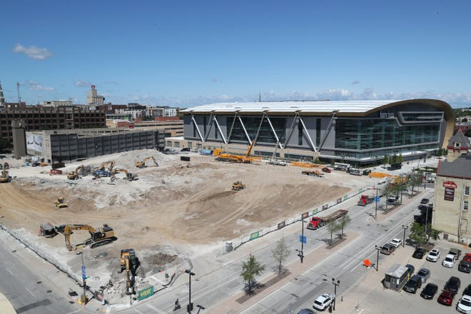 Firserv Forum marked its one-year anniversary on Monday. Additional development will be coming to nearby parcels, including the former BMO Harris Bradley Center site.