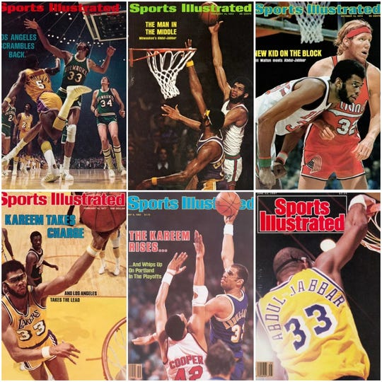 Kareem Abdul-Jabbar appeared on Sports Illustrated numerous times, both with the Bucks and the Lakers.