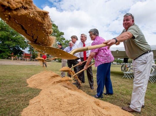 A groundbreaking ceremony is held for the new Screws Park on Atlanta Highway in Montgomery, Ala., on Thursday August 22, 2019.