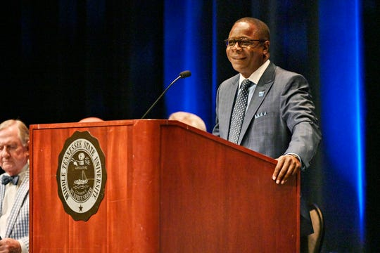 MTSU President Sidney A. McPhee gives his annual State of the University Address during the Fall Faculty Meeting held Thursday, Aug. 22, inside Tucker Theatre.
