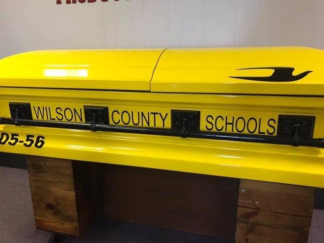 The casket made for David Wright made to look like a school bus. Wright, who died Aug. 13, drove a bus for Wilson County Schools for more than 50 years.