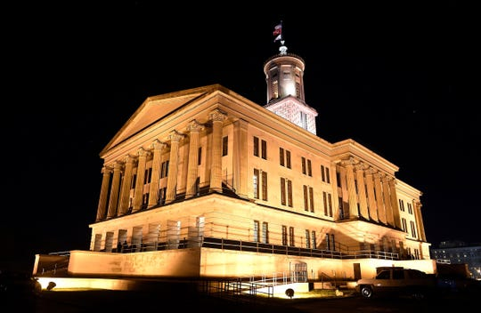 Tennessee state Capitol at night Monday, Jan. 30, 2017, in Nashville