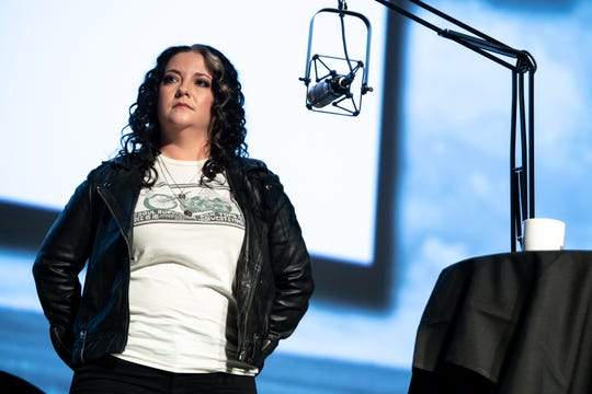 Ashley McBryde speaks during the Country Mile: A conversation with Garth Brooks and Ashley McBryde taping at the Curb Event Center in Nashville, Tenn., Wednesday, Aug. 21, 2019.