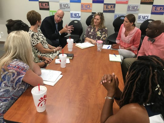 Williamson County Schools superintendent Jason Golden converses with parents Tuesday at the first Cultural Competency Council meeting of the 2019-10 school year. The council meets quarterly.