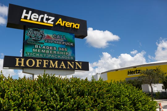 Construction crews continued renovation work on Thursday, Aug. 22, 2019, at Hertz Arena. Hertz Arena replaced its sign next to I-75 and ripped up its luxury suites as new owner David Hoffmann started remaking the arena.