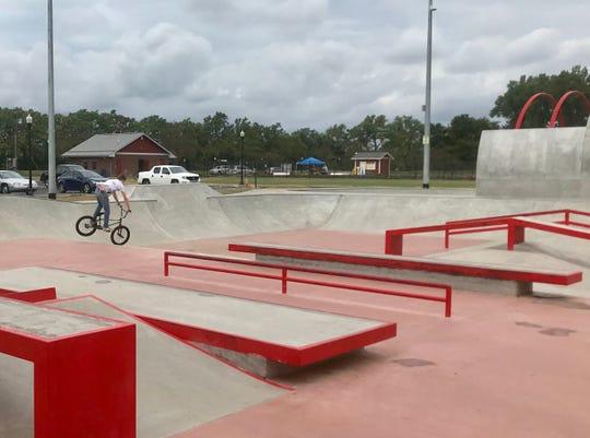 Braden Vandenbark, 18, of Pataskala, enjoys the new Newark Skatepark on Thursday. Dedication of the park, located at Everett Park, will be 10 a.m. Saturday.