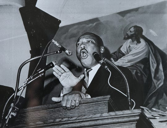 Martin Luther King Jr. at the church in Paterson, March 27, 1968.