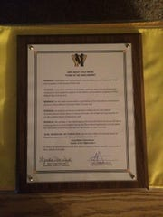 Copy of the West Milford BOE proclamation declaring the new field house will be named for Greg Bailey.