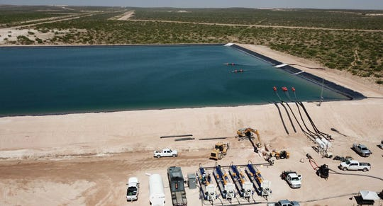 A water handing facility owned by Solaris Water Midstream is pictured.