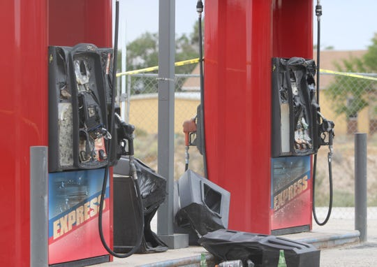 Gasoline pumps were damaged by a fire on Aug. 19 at the Naschitti Trading Post.