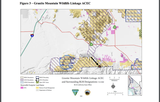 The Omya mine site (indicated by the red square) is located on the southern boundary of the Granite Mountain Wildlife Linkage Area of Critical Environmental Concern. A proposal is pending to remove 70 acres from the 39,000-acre ACEC (indicated with purple diagonal lines) and sell it to the mining company.
