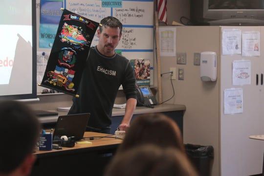 Demetrious Sinor teaches an ethnic studies class at Desert Hot Springs High School in Desert Hot Springs, Calif. on Thursday, August 22, 2019.