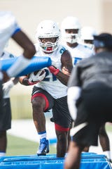 Pine Forest grad Jaden Gardner runs drills with the University of West Florida football team on Aug. 122, 2019. Gardner signed with UWF out of Coffeyville Community College this offseason.