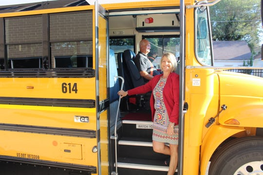 Assistant Superintendent Cathy Dusman and other members of the Chambersburg Area School District administrative team rode on buses with students on the first day of school, Aug. 22, 2019.