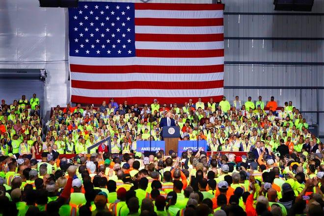 President Donald Trump speaks at the Pennsylvania Shell ethylene cracker plant on Tuesday, Aug. 13, 2019 in Monaca, Pa.(AP Photo/Keith Srakocic)