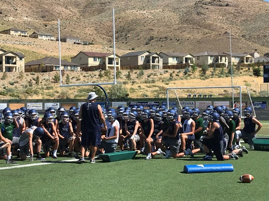 The Damonte Ranch football team at practice on Aug. 13.