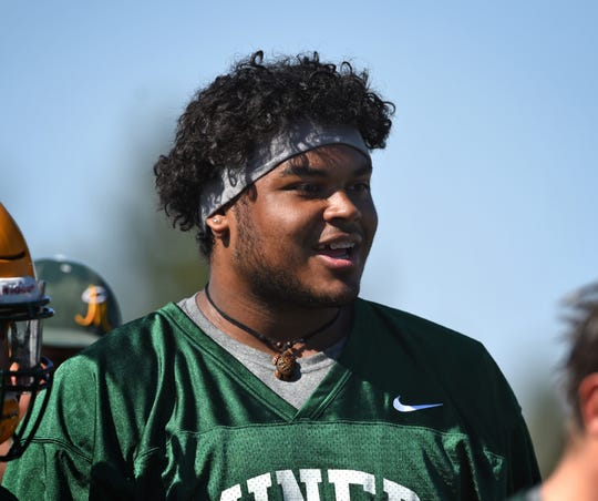 Manogue's Joey Wright at practice on Aug 12.