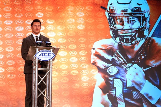 Syracuse Orange quarterback Tommy DeVito speaks during the 2019 ACC Kickoff at the Westin Hotel in Charlotte, N.C.