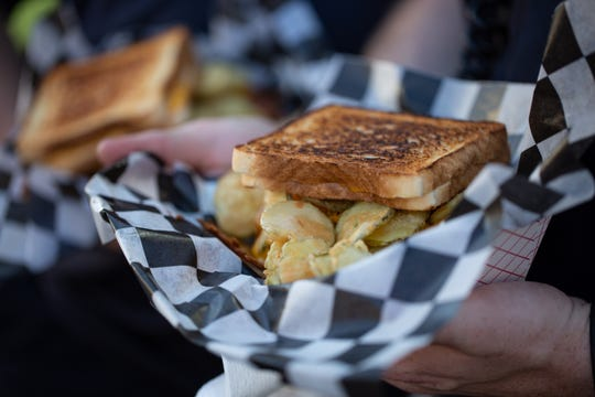 The Defibrillator: A deep-fried half-pound burger topped with deep-fried bacon, deep-fried pickles and cheddar cheese, all served between two grilled cheese sandwiches. Wednesday, Aug. 21, 2019.
