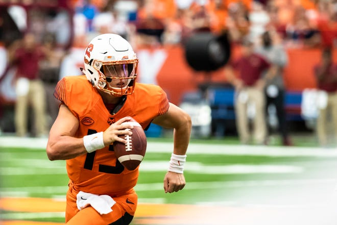 Tommy DeVito  of the Syracuse Orange runs with the ball during the second half against the Florida State Seminoles at the Carrier Dome on September 15, 2018 in Syracuse, New York. Syracuse defeated Florida State 30-7.
